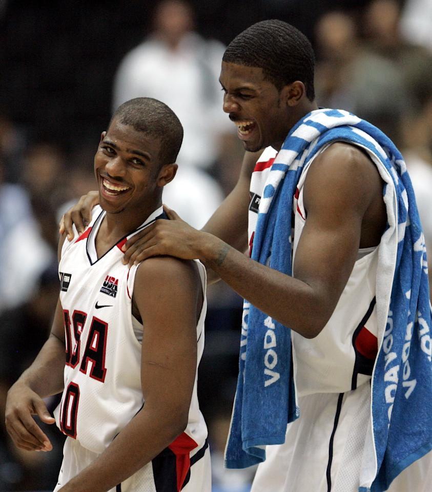 USAs Joe Johnson, right, and Paul Chris celebrate their team's victory over Germany at the quarterfinals of the World Basketball Championships in Saitama, Japan, Tuesday, Aug. 29, 2006.  USA won the game 85-65. (AP Photo/Dusan Vranic)
