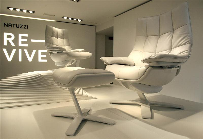 New Natuzzi's easy chairs named Revive, are pictured in a store downtown Milan