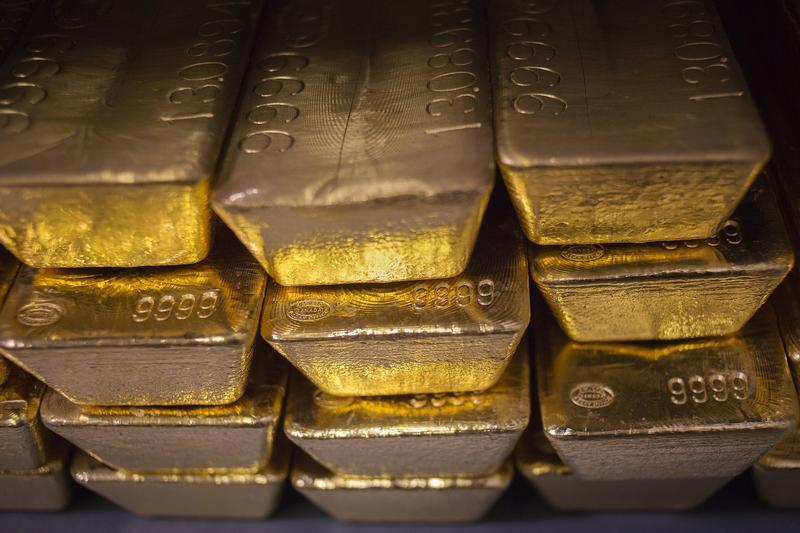 Gold bars are seen at the United States West Point Mint facility in West Point, New York