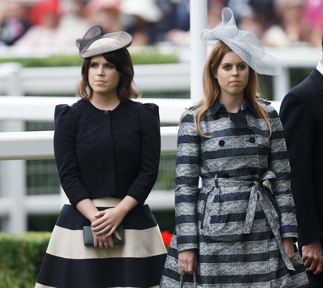Princess Beatrice (right) and Princess Eugenie (left) before racing during day one of the Royal Ascot meeting at Ascot Racecourse, Berkshire.
