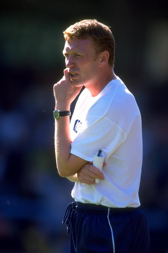 21 Aug 1999:  David Moyes the Preston manager watches over the Nationwide Division Two match against Wycombe played in Wycombe, England. The game ended in a 1-1 draw. \ Mandatory Credit: Chris Lobina /Allsport