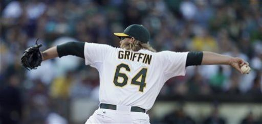 Griffin, Balfour combine as A's blank Red Sox, 3-0