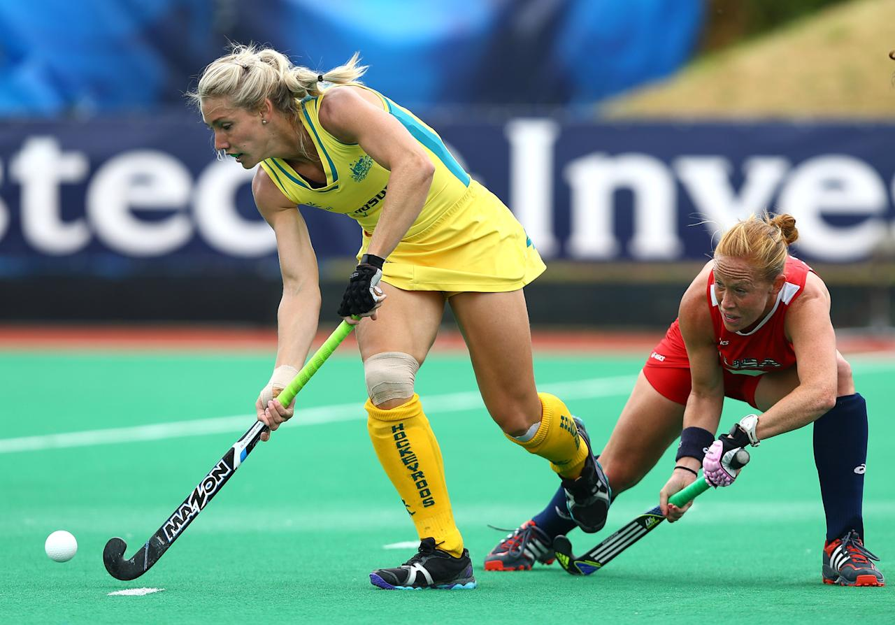 LONDON, ENGLAND - JUNE 27: Casey Eastham of Australia battles with Lauren Crandall of the Unites States during the Investec Hockey World League quarterfinal match between Australia and USA at the Quintin Hogg Memorial Sports Grounds on June 27, 2013 in London, England. (Photo by Jan Kruger/Getty Images)