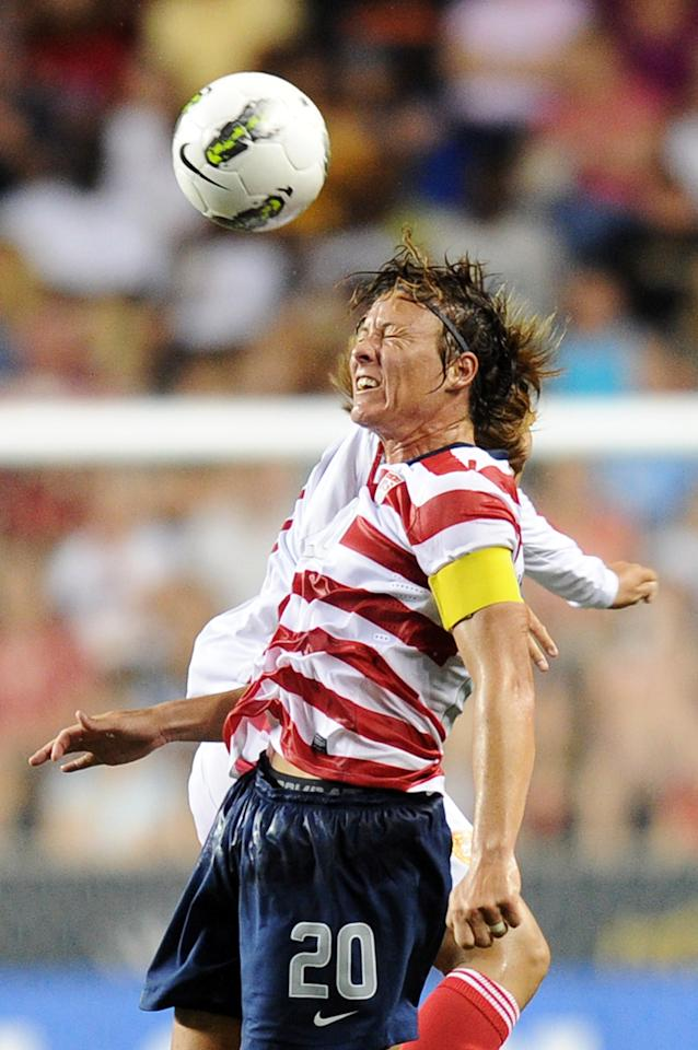 CHESTER, PA - MAY 27: Abby Wambach #20 of the USA heads the ball during the game against the China at PPL Park on May 27, 2012 in Chester, Pennsylvania. USA won 4-1. (Photo by Drew Hallowell/Getty Images)