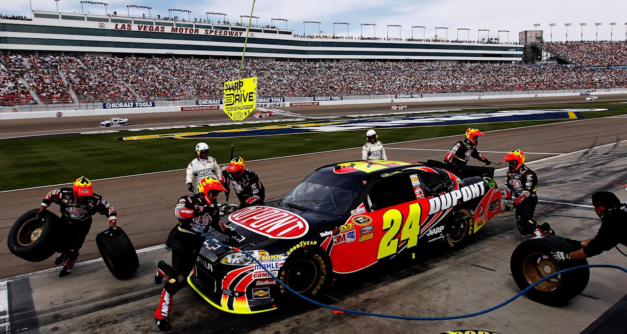LAS VEGAS, NV - MARCH 11:  Jeff Gordon, driver of the #24 DuPont 20 Years Chevrolet, pits during the NASCAR Sprint Cup Series Kobalt Tools 400 at Las Vegas Motor Speedway on March 11, 2012 in Las Vegas, Nevada.  (Photo by Tom Pennington/Getty Images)