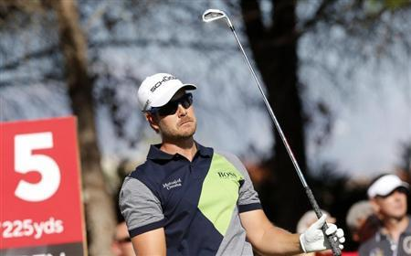 Henrik Stenson of Sweden tees off on the 5th hole during the final round of the inaugural Turkish Airlines Open in the south west city of Antalya