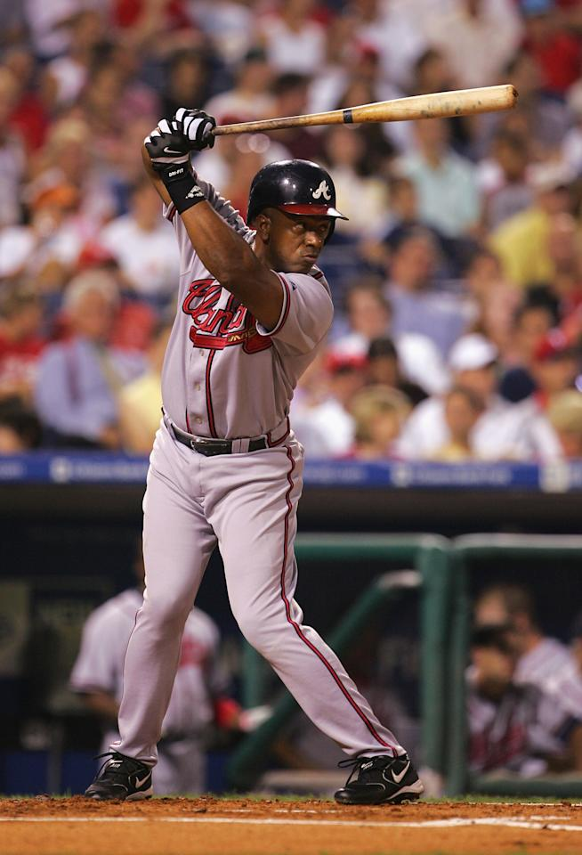 PHILADELPHIA - SEPTEMBER 13: First baseman Julio Franco #14 of the Atlanta Braves at bat during the game against the Philadelphia Phillies on September 13, 2005 at Citizens Bank Park in Philadelphia, Pennsylvania. The Phillies defeated the Braves 5-4. (Photo by Jamie Squire/Getty Images)