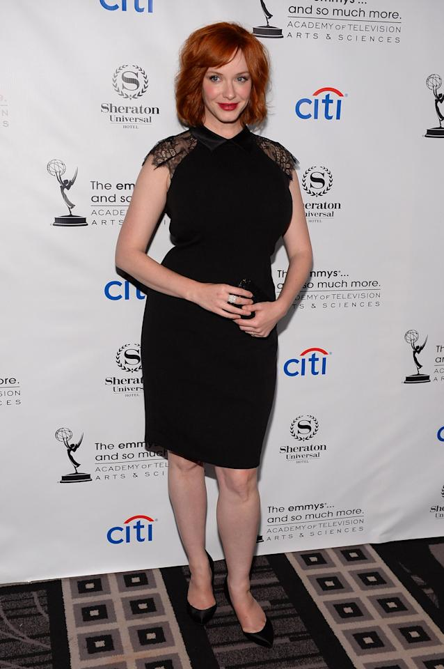 UNIVERSAL CITY, CA - AUGUST 19: Actress Christina Hendricks arrives at the Academy of Television Arts & Sciences' Performers Peer Group cocktail reception to celebrate the 65th Primetime Emmy Awards at Sheraton Universal on August 19, 2013 in Universal City, California. (Photo by Mark Davis/Getty Images)