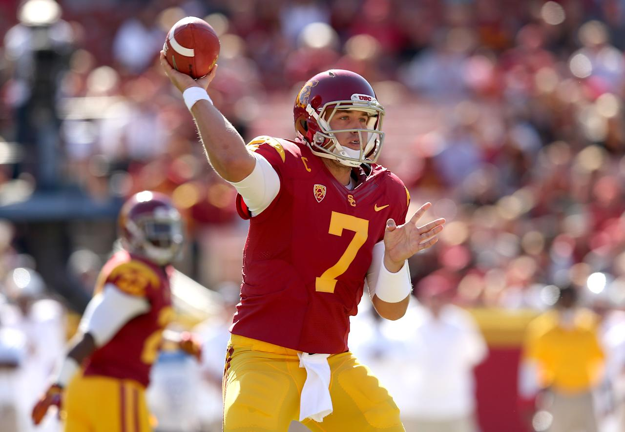 LOS ANGELES, CA - NOVEMBER 10: Quarterback Matt Barkley #7 of the USC Trojans throws a pass against the Arizona State Sun Devils at the Los Angeles Memorial Coliseum on November 10, 2012  in Los Angeles, California.  (Photo by Stephen Dunn/Getty Images)