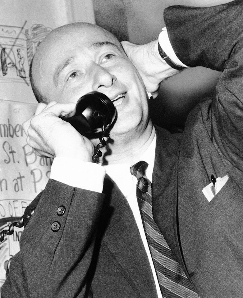 Ed Koch, district leader in New York's Greenwich Village, pictured at his headquarters on June 3, 1964. (AP Photo)