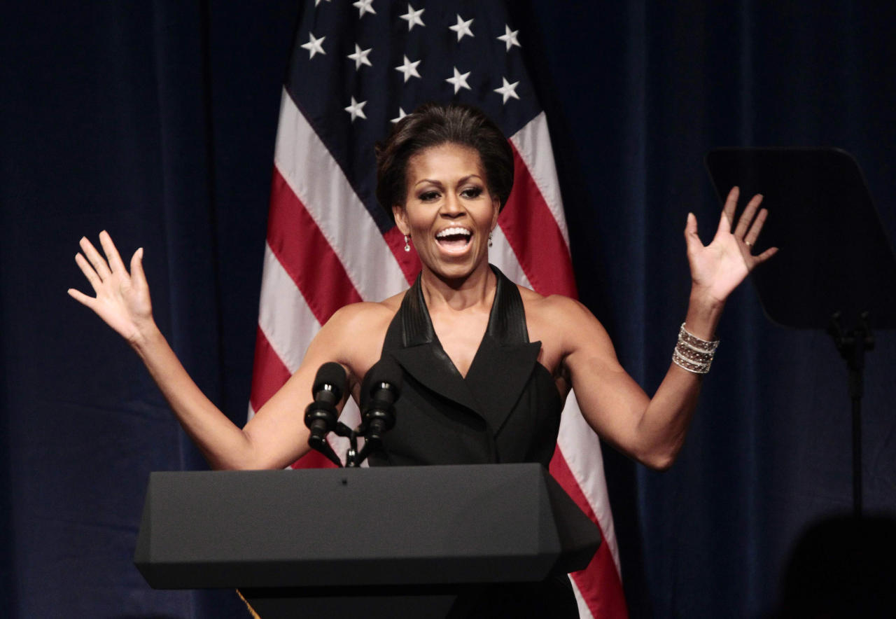 Michelle Obama gestures before introducing her husband President Barack  Obama at a DNC fundraiser at Gotham Hall in New York. <br><br>(AP Photo/Pablo Martinez  Monsivais, File)