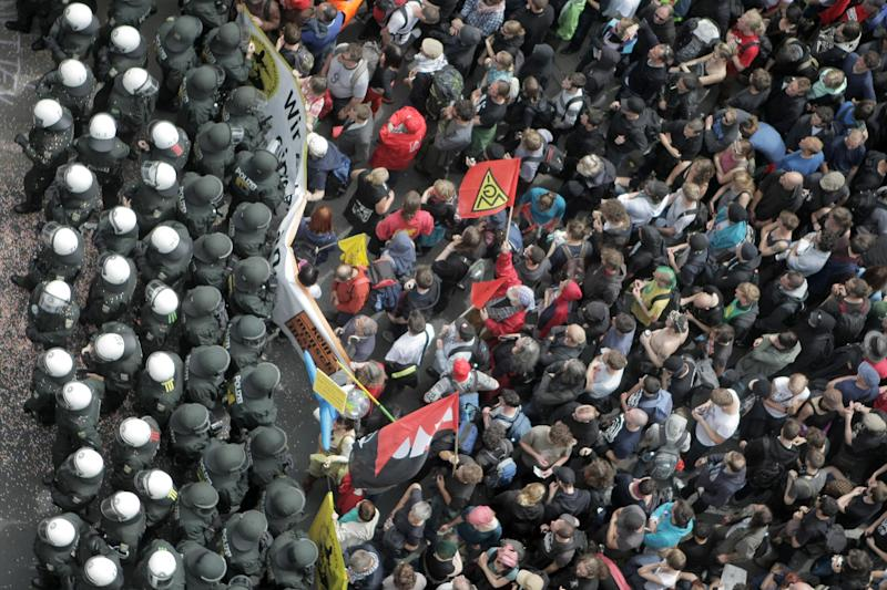 German police, protesters in standoff near ECB