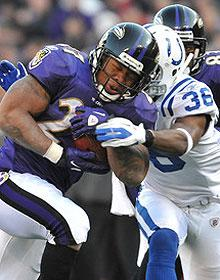 Ray Rice is fifth in the league with 1,029 rushing yards