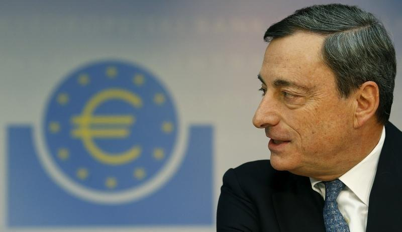 ECB President Mario Draghi addresses the monthly ECB news conference in Frankfurt