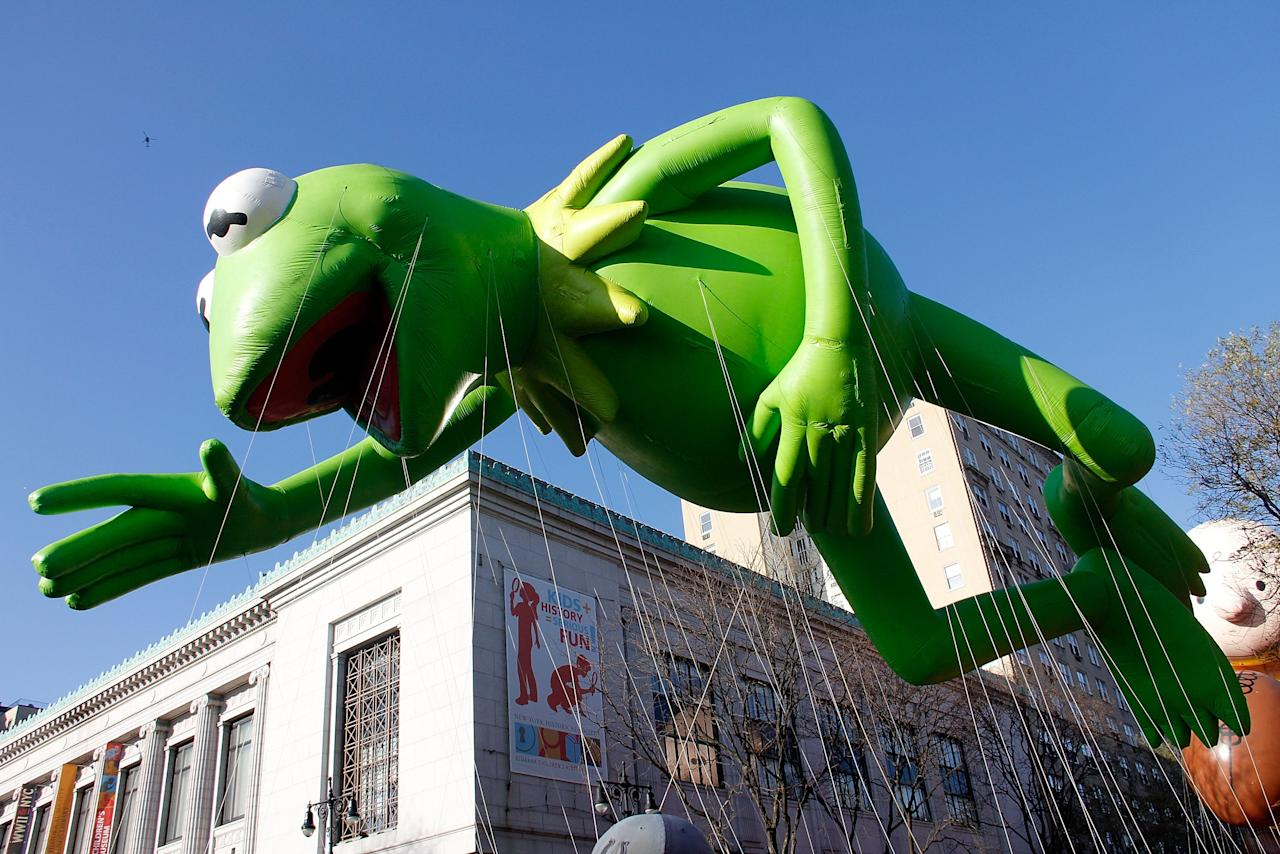 NEW YORK, NY - NOVEMBER 22:  Kermit balloon floats at the 86th Annual Macy's Thanksgiving Day Parade on November 22, 2012 in New York City.  (Photo by Laura Cavanaugh/Getty Images)
