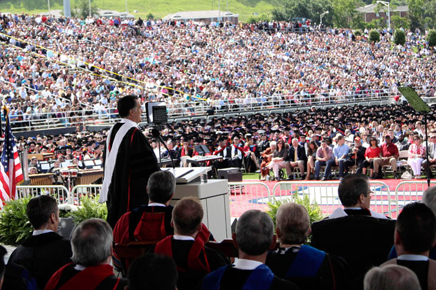 Romney defends marriage and faith in Liberty University speech
