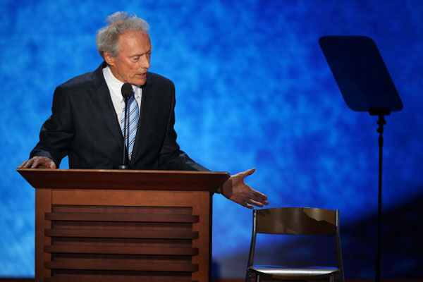 Mr Eastwood addresses chair, at the Republican National Convention in Tampa, August 30, 2012. (Photo by Mark Wilson/Getty Images)