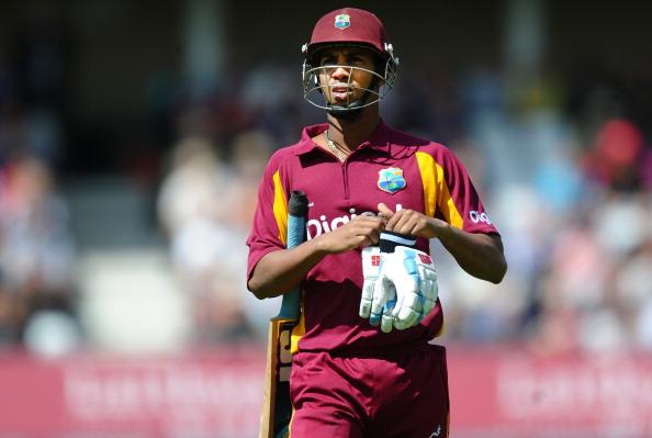 West Indies batsman Lendl Simmons leaves