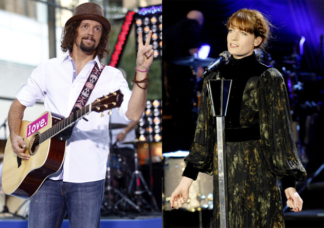 Jason Mraz and Florence Welch of Florence + The Machine