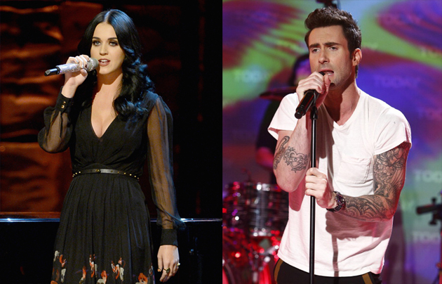 Katy Perry and Adam Levine of Maroon 5
