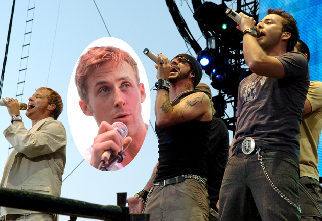 Ryan Gosling and the Backstreet Boys (Photos by L. Cohen/WireImage; Noel Vasquez/Getty Images)
