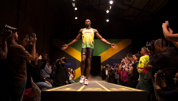 Jamaican sprinter Usain Bolt walks on a
