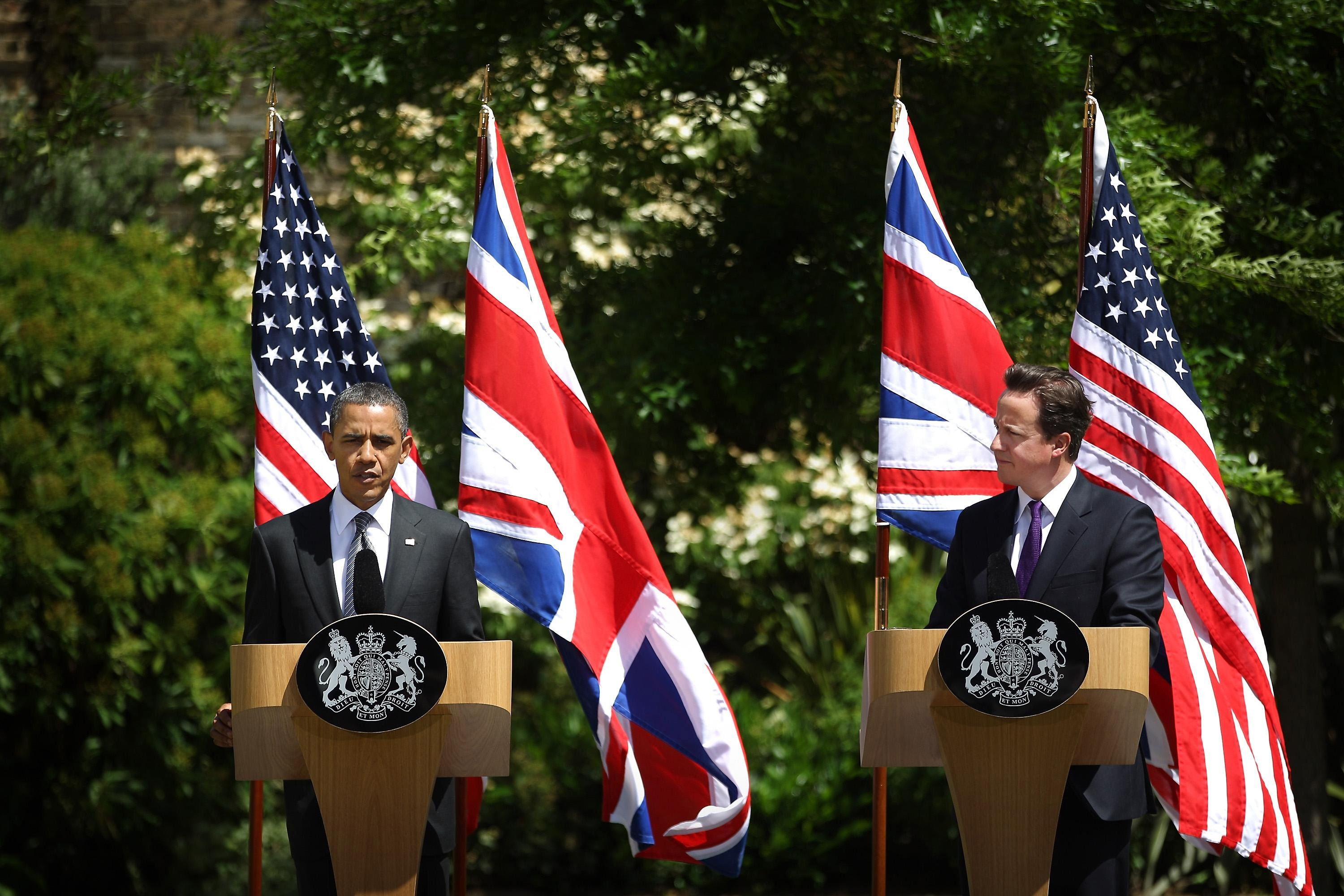 Barack Obama and David Cameron get to know each other during the President's state visit to the UK last summer (PA)