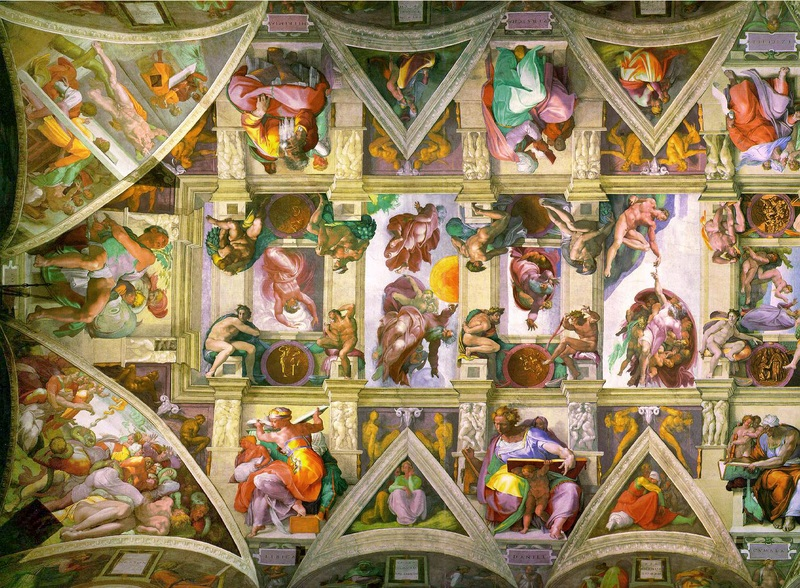 A portion of the great ceiling painting at the Sistine Chapel