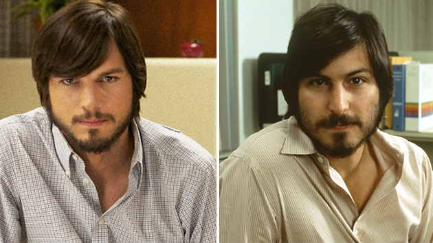 Ashton Kutcher in 'Jobs,' and the real Steve Jobs in 1981 (Photo: Open Road Films/Corbis)