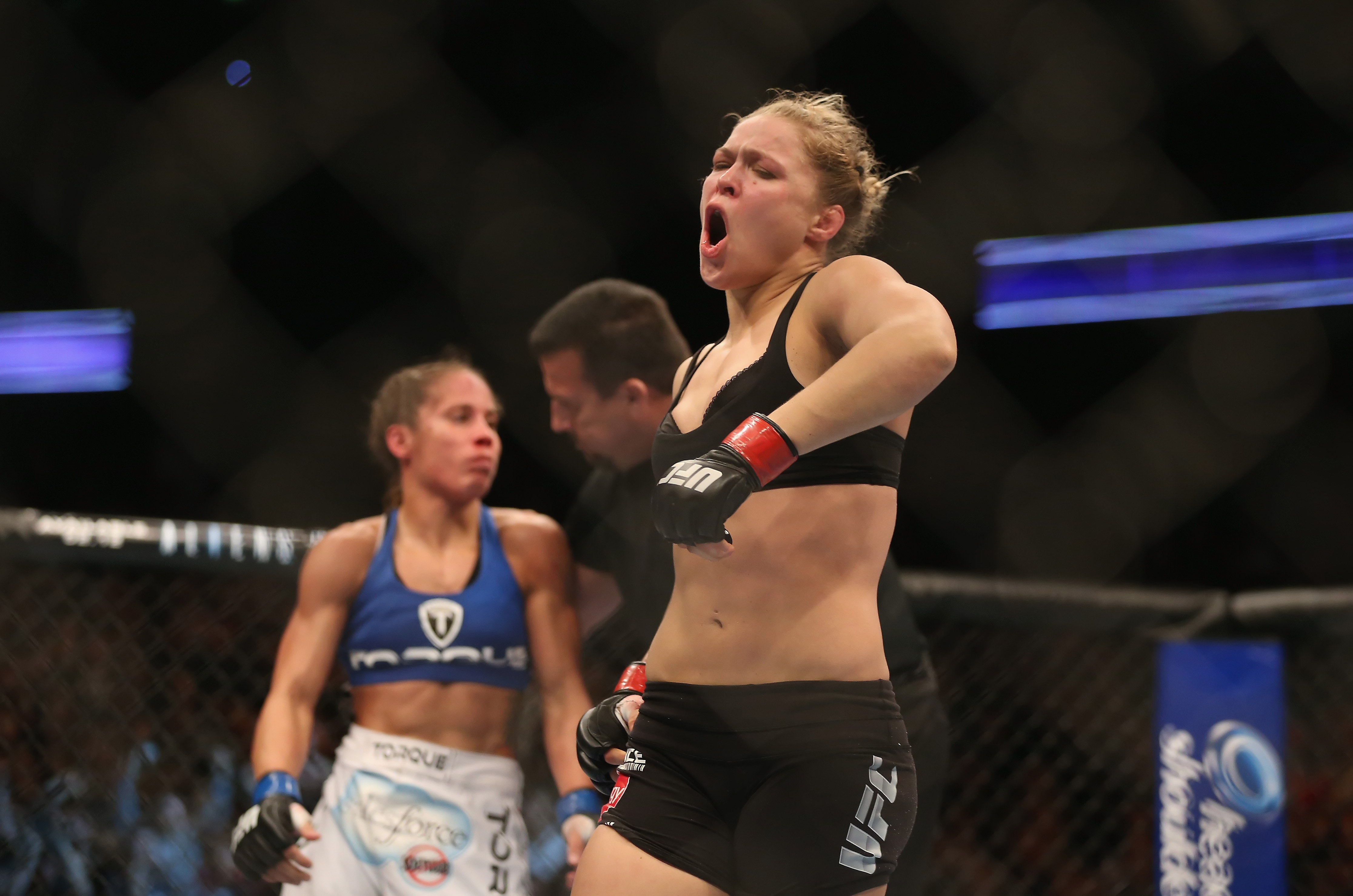 Ronda Rousey celebrates her win over Liz Carmouche. (Getty)