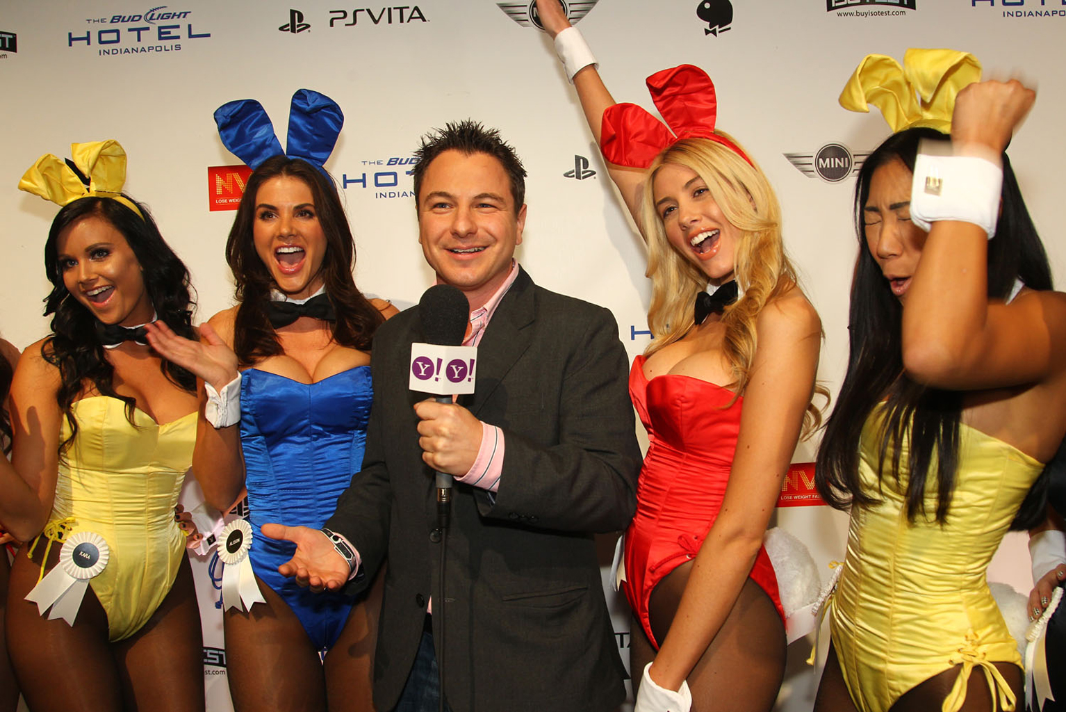 Playboy bunnies arrive at the Playboy Party at the Bud Light Hotel in Indianapolis.