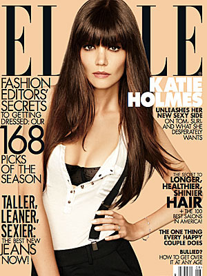 Holmes on the cover of Elle (Carter Smith)