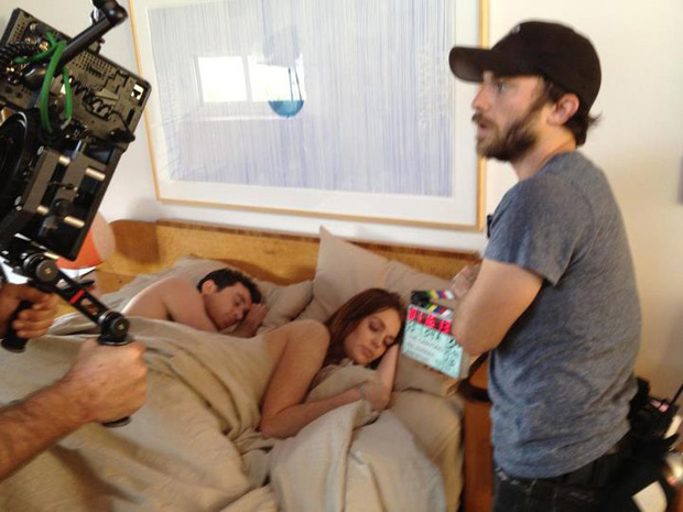 Deen and Lohan film a scene in bed on the fourth day of filming. (Facebook)