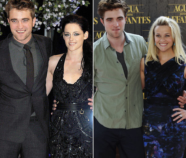 Pattinson and Stewart in happier times... and the British actor with his Water for Elephants co-star Witherspoon (Getty Images)