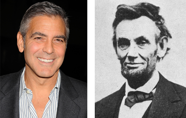 George Clooney and Abraham Lincoln are distant cousins. (Getty Images/Everett Collection)