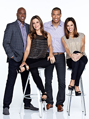 (L-R) Kevin Frazier, Thea Andrews, Michael Yo, and Mary Kitchen (CBS/omg! Insider)