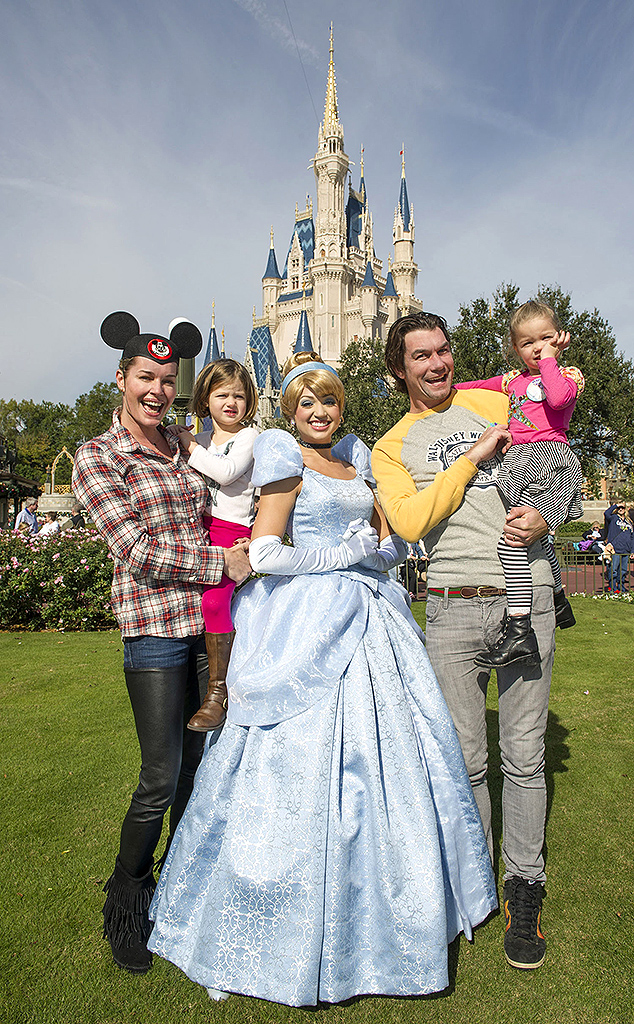 Romijn and O'Connell celebrate their twin daughters' birthday at the Walt Disney World theme park. (Disney / Splash News)