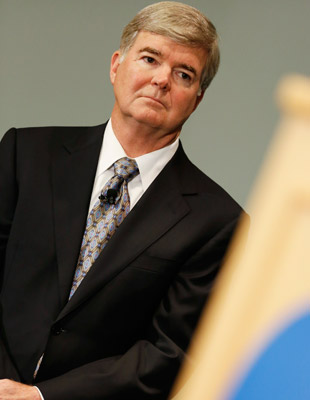 Mark Emmert leveled unprecedented penalties against Penn State. (Getty Images)