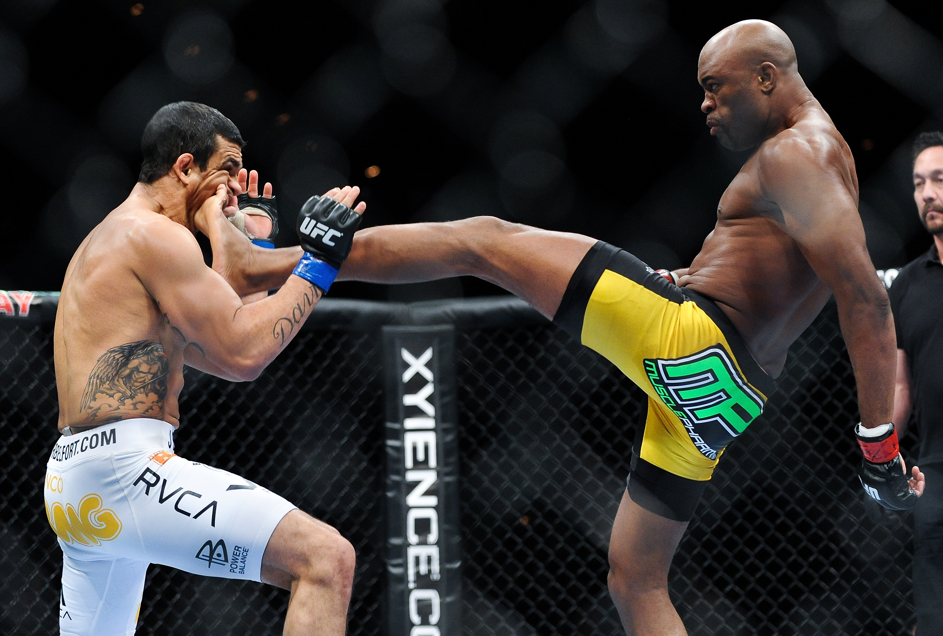 Anderson Silva lands a kick to the jaw of Vitor Belfort on Feb. 5, 2011. (Getty)