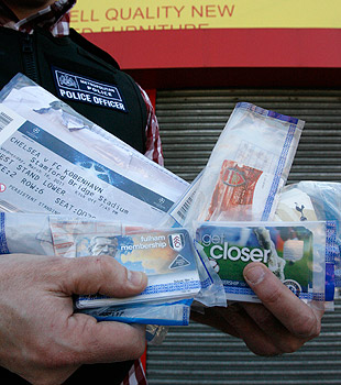 Police across Britain mounted an operation against EPL ticket touts in March. (Getty Images)