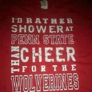 Ohio State University officials have condemned a T-Shirt making light of the Penn State abuse scandal.