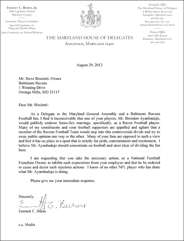 Maryland politician's letter denouncing Brendon Ayanbadejo's support of gay marriage