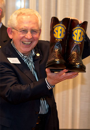 SEC commissioner Mike Slive was given a pair of boots upon his visit to Texas A&M. (Special to Y! Sports)