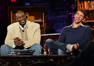 Michael Jordan and Michael Phelps on Feherty Live. (Getty Images)