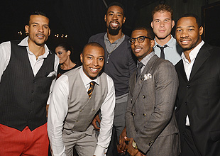 Chris Paul is joined by his teammates at a red carpet event in Hollywood. (Getty Images)
