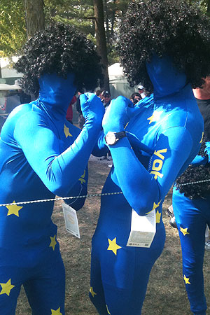 Even the fans at this year's Ryder Cup came dressed for the craziness. (Y! Sports)