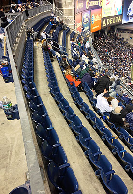 Entire rows of Yankee stadium were empty for the opening game of the ALCS. (Yahoo! Sports)