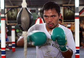 Manny Pacquiao worked out in the Philippines before arriving in Los Angeles to train. (Getty Images)