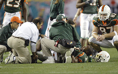 Willis McGahee receives attention after being severely injured in the national championship game. (Getty)