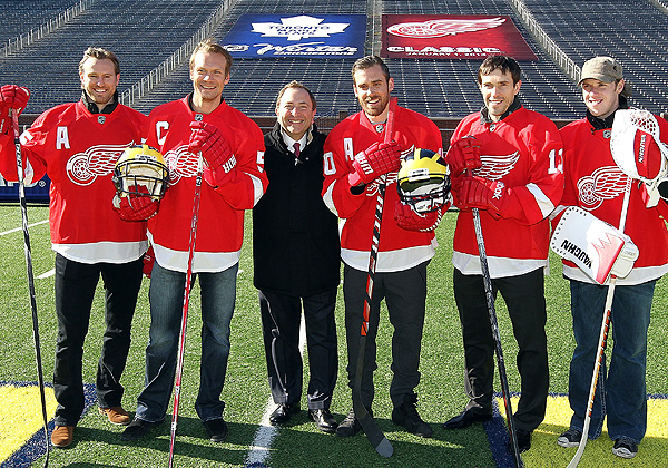 NHL commissioner Gary Bettman stands with Red Wings players while promoting the 2013 Winter Classic between Detroit and the Toronto Maple Leafs